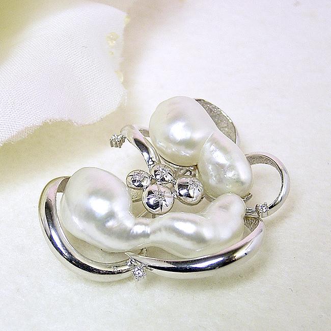 パール ブローチ(6317) ケシ真珠 白蝶真珠 南洋真珠 バロック K18WG ホワイトゴールド ダイヤモンド 入学式 卒業式 結婚式 式典 パーティー 母の日 プレゼント 送料無料