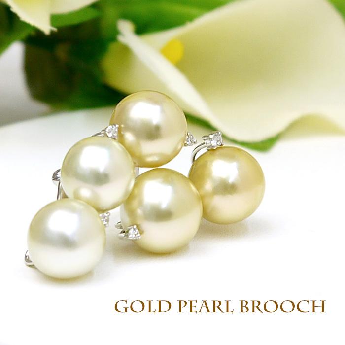 【送料無料】K18WGダイヤ付き白蝶真珠ゴールドパールブローチ(6504)【南洋真珠】【母の日】