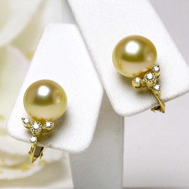 パール イヤリング(4204) 白蝶真珠 ゴールドパール 10.5mm 18金 K18 ダイヤモンド 結婚式 ブライダル パーティー 母の日 送料無料
