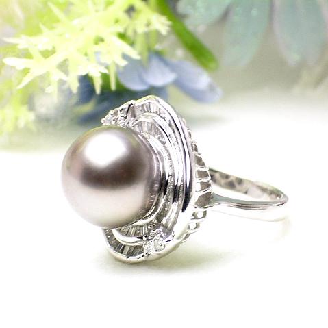 【送料無料】黒蝶真珠プラチナパールリング(7119)【南洋真珠】【指輪】