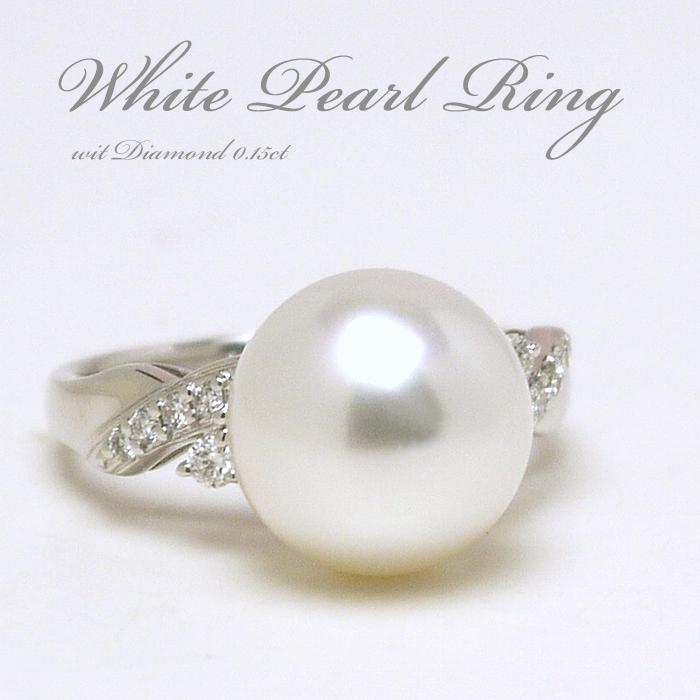 【送料無料】11.0mm白蝶真珠ダイヤ付きプラチナパールリング(7219)【南洋真珠】