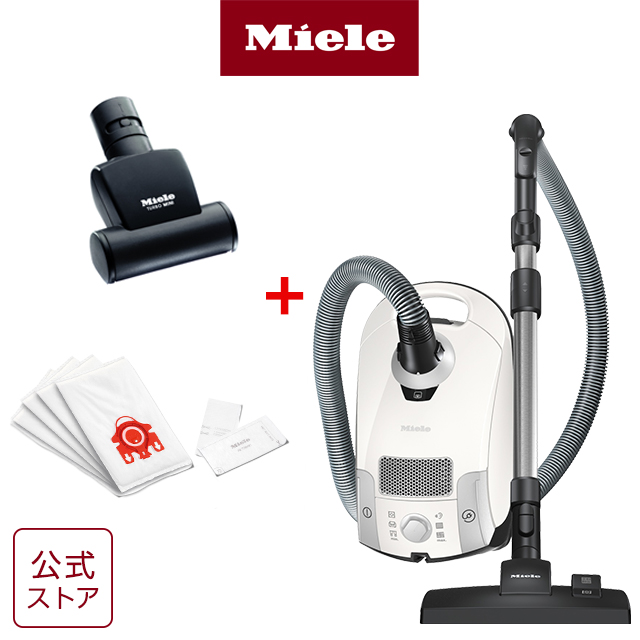 Miele ミーレ 掃除機 紙パック式 紙パック 紙パック式掃除機 Compact C1 SCAO 3 W Pure Suction ハンドターボブラシ・ダストバッグセット ホワイト