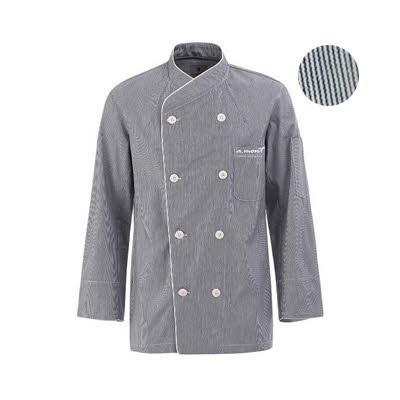 ブリティッシュ オーガニック シェフジャケット☆Stripe Chef Coat (Grey) #AJ1362☆ユニフォームデザイナー専門ブランド a.mont☆飲食店・ホテル・サービスユニフォーム(制服)接客・厨房・コックコート・エプロンなどの専門店です♪ ☆a-montジャケット