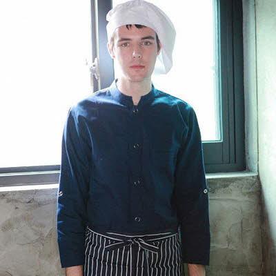 ブリティッシュ オーガニック シェフジャケット☆Organic Cotton Single Chef coat (Navy) #AJ1557☆ユニフォームデザイナー専門ブランド a.mont☆飲食店・ホテル・サービスユニフォーム(制服)接客・厨房・コックコート・エプロンなどの専門店です♪ ☆a-montジャケット