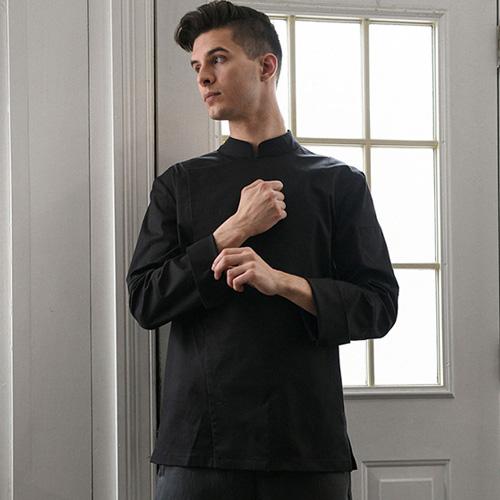 伸縮性と洗濯後の原状回復力に優れシェフコート☆Back side Cooling stretch chef coat (black) #AJ1945☆ユニフォームデザイナー専門ブランド a.mont☆飲食店・ホテル・サービスユニフォーム(制服)接客・厨房・コックコート・エプロンなどの専門店です♪ ☆a-mont