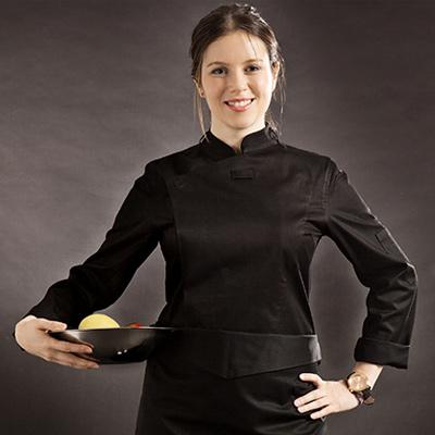 ブリティッシュ オーガニック シェフジャケット☆Slim Chef Jacket (Black) Woman #AJ1455☆ユニフォームデザイナー専門ブランド a.mont☆飲食店・ホテル・サービスユニフォーム(制服)接客・厨房・コックコート・エプロンなどの専門店です♪ ☆a-montジャケット