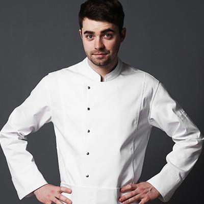 クラシックフィットのアイテム シェフコート☆LETTO classic fit chef coat (White) #AJ1821☆ユニフォームデザイナー専門ブランド a.mont☆飲食店・ホテル・サービスユニフォーム(制服)接客・厨房・コックコート・エプロンなどの専門店です♪ ☆a-montジャケット