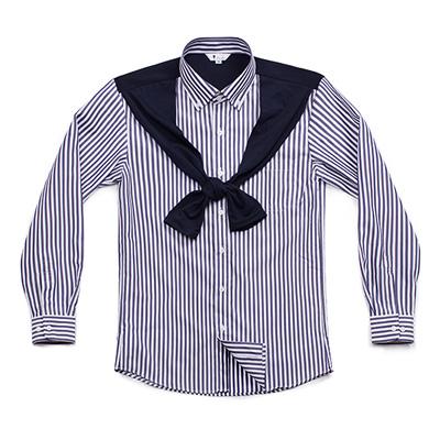 カーディガンとシャツが一緒になったデザインのシャツ☆cardigan line striped shirts navy #AS1713☆ユニフォームデザイナー専門ブランド a.mont☆飲食店・ホテル・サービスユニフォーム(制服)接客・厨房・コックコート・エプロンなどの専門店です♪ ☆a-montシャツ