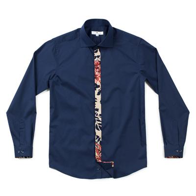 フローラルパターンをポイントにしたユニークなデザインシャツ☆ader flowers navy shirts (Navy) #AS1745☆ユニフォームデザイナー専門ブランド a.mont☆飲食店・ホテル・サービスユニフォーム(制服)接客・厨房・コックコート・エプロンなどの専門店です♪ ☆a-montシャツ