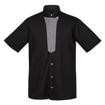 フロント部分に着脱可能なタイのセットシャツ☆Contrast tie set short sleeve shirt (Black) #AS1839BK ☆ユニフォームデザイナー専門ブランド a.mont☆飲食店・ホテル・サービスユニフォーム接客・厨房・コックコート・エプロンなどの専門店です♪ ☆a-montシャツ