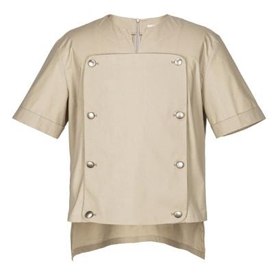 クラシックでユニークなシェフコート☆VENT front detach short sleeve shirt (Beige) #AS1843BE☆ユニフォームデザイナー専門ブランド a.mont☆飲食店・ホテル・サービスユニフォーム(制服)接客・厨房・コックコート・エプロンなどの専門店です♪ ☆a-montシャツ