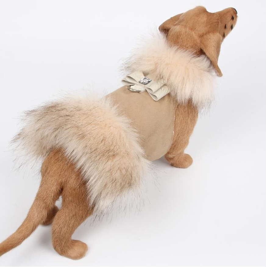 ★Susan Lanci/スーザンランシー★Ivory Fox Fur Coat with Big Bow犬用フェイクファーコート