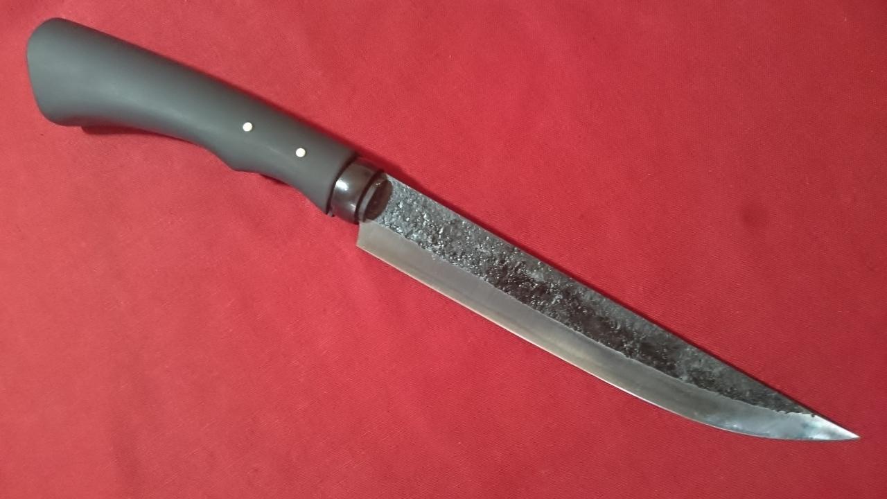手打ち 青紙2号 剣鉈 175mm 細身 偏芯の両刃 鍛造 手打ちナイフ 実用ナイフ 狩猟刀・アウトドア・鍛造ナイフ BU-173