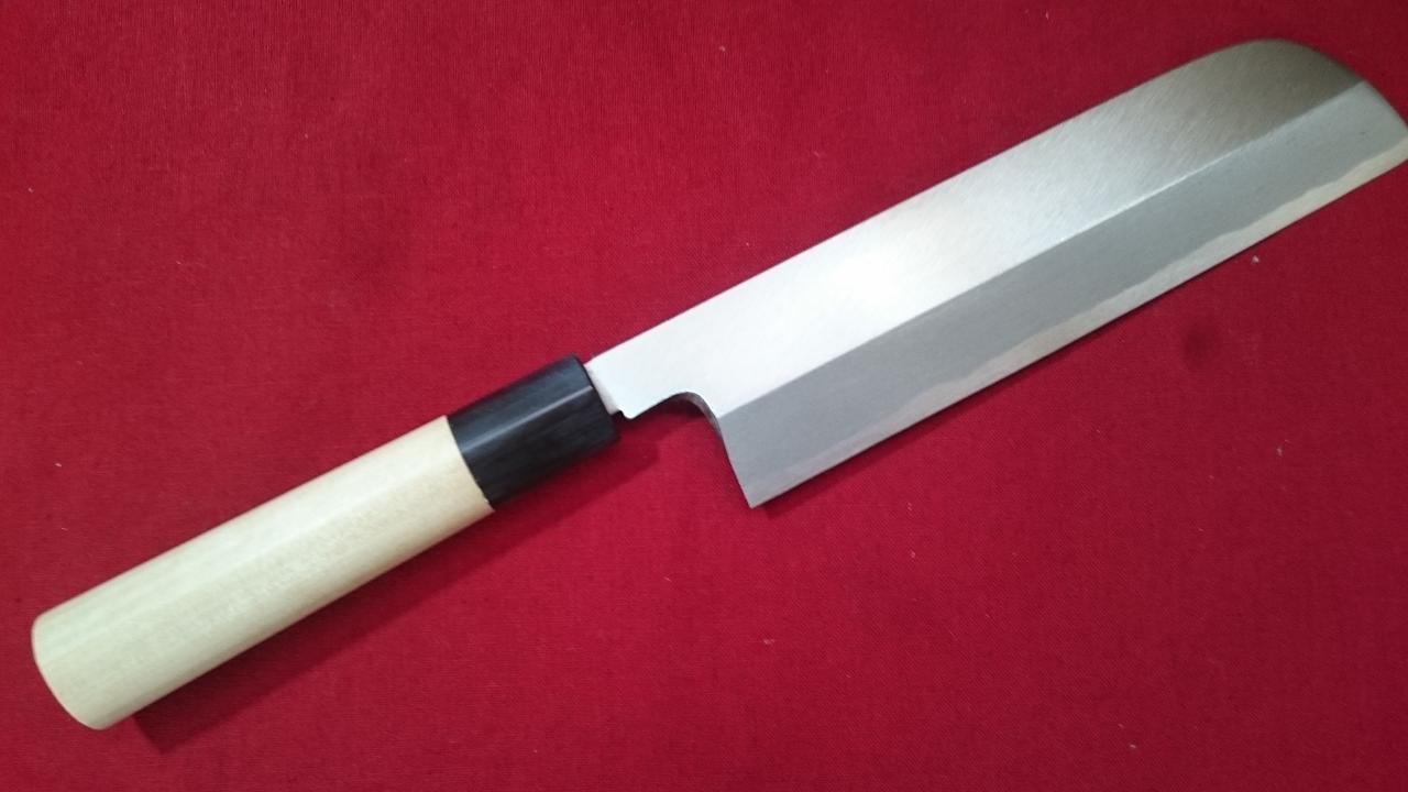 堺 手打 鍛造 鎌型 片刃薄刃包丁 青紙二号 210mm 関西型 桂剥き 細工包丁 かつらむきに最適