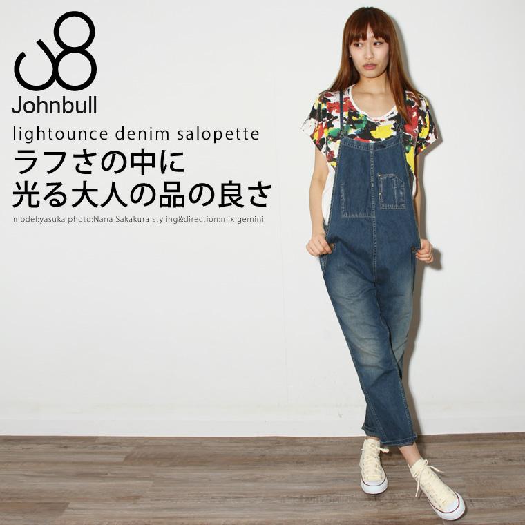 【デニム レディース】 ライトオンスネップデニムサロペット 女性 レディース Johnbull ジョンブル ap233