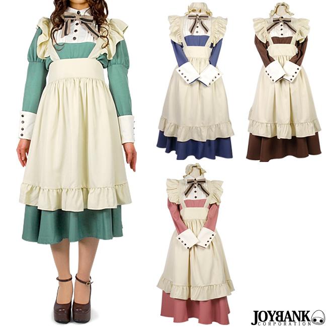 カントリー ロング メイド服 M/L [8mm] カラー4色 長袖 コスプレ 衣装 02000152
