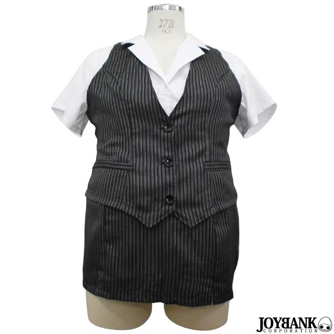 オフィスレディー コスチューム 3L/5L/6Lサイズ 大きいサイズ OL 制服ストライプ スーツ 事務員 コスプレ 衣装 04000335