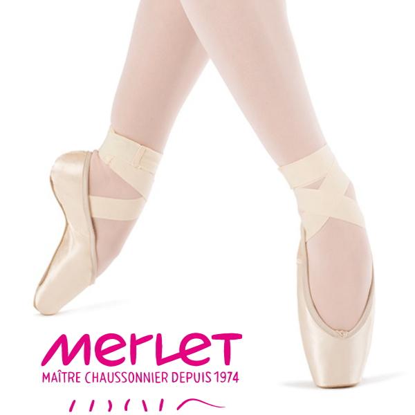 【 メルレ 】 トウシューズ 「クロエ」 ポワント バレエ (布製リボン付き) ソールは硬めなので簡単に立たせてくれるポアント