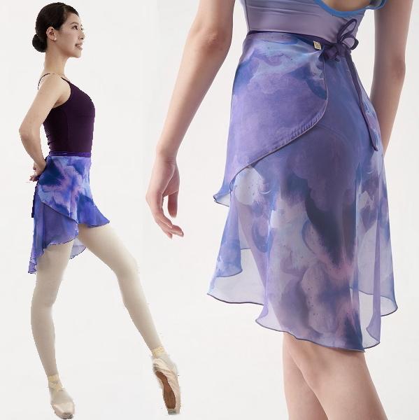 フィッシュテールデザイン 美しい巻きスカート 期間限定 Mihorobe ミホローブ ご予約品 柄 巻きスカート 002 ブルーダークパープル バレエ 着 エレガント レッスン 大人 美しい スカート バレエ用品 ジュニア