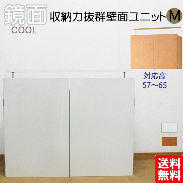 収納力抜群壁面ユニットM 鏡面壁面収納 上置き 送料無料 国産
