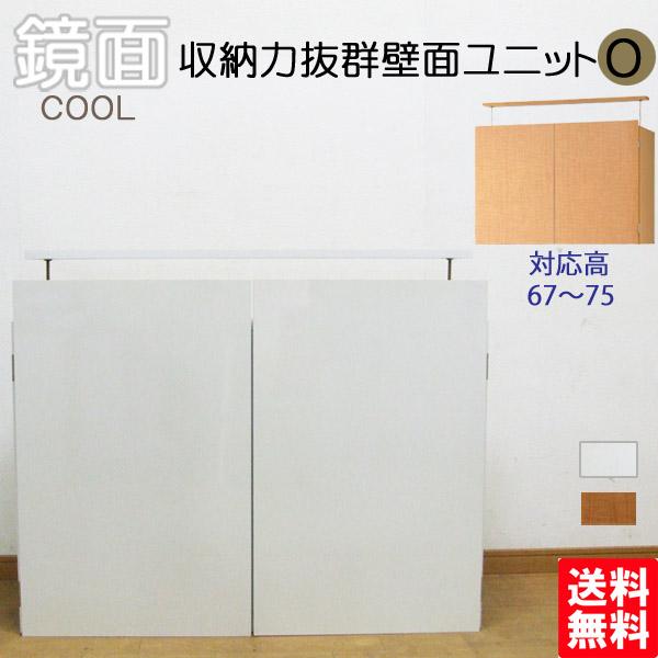 収納力抜群壁面ユニットO 鏡面壁面収納 上置き 送料無料 国産