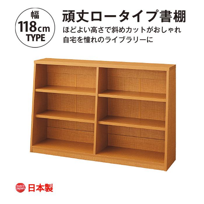脚元安定 頑丈ロータイプ書棚 幅118cm 本棚 おしゃれ 大容量 収納 薄型 書棚 ブックシェルフ インテリア 国産
