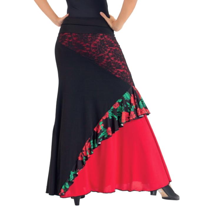 5cd9e98774114 sfr14-r ミカドレス ブラック レッド 衣装 モダン コーラス 社交ダンス ...
