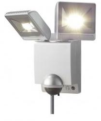 【新品・アツミ電氣(オプテックス)製】LEDセンサーライト2灯型 色:シルバー発注商品の為ご注文後のキャンセル、返品、交換(初期不良以外)は出来ません。