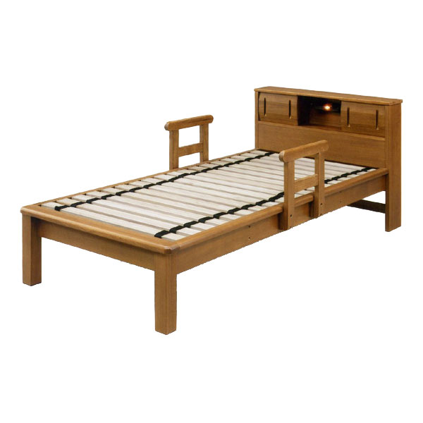 ベッド シングルベッド 桐すのこ シングルベッド ローリングすのこ使用 敷き布団サイズベッド 手すり付き、宮、ライト付き   シンプルベッド(mal-)  GOK