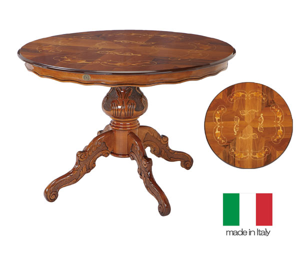 イタリア製 鏡面仕上げ クラッシック 円形 ダイニングテーブル 110幅 送料無料 【S5】hgs  サルタレッリ[G2]