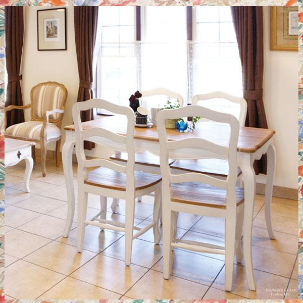 白いダイニングセット 5点 白家具 輸入 イタリアンカントリー フレンチカントリー白い姫系食卓5点セット ロマンチック お姫様 hag-sapj0011-0010【QSM-20K】
