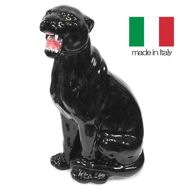 イタリア製 陶器 置物 動物 黒ヒョウ  送料無料  輸入家具【QSM-220】【2D】