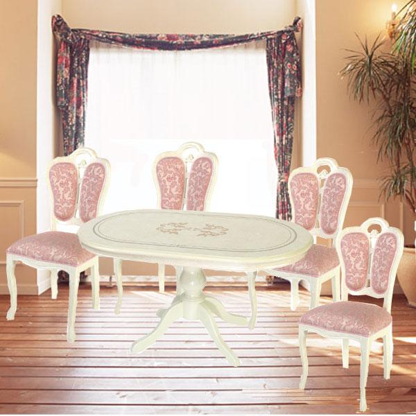 イタリア製 お姫様 白い ダイニングセット 幅145cm  5点セット 食卓セット 鏡面 輸入家具 姫系  クラシック  サルタレッリGYHC[G2]