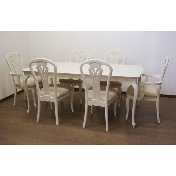 お姫様 白い ダイニングセット 7点セット 幅180cm 食卓セット 輸入家具 姫系  クラシック GYHC食卓[G2]