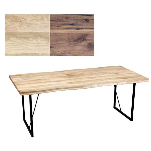 オーク材無垢材 幅160cm オイル塗装 重厚な耳付き スチール脚付き ダイニングテーブル 食卓テーブル  GYHC【Y-YHC】