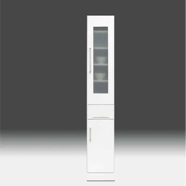すきま収納 食器棚 すきま家具 白家具 鏡面 キッチン収納【日本製 一本立ち完成品】 キッチンボード 幅30cm 高さ180cm モイス付き GOKaic-cristal30slb 隙間[G2]【sm】