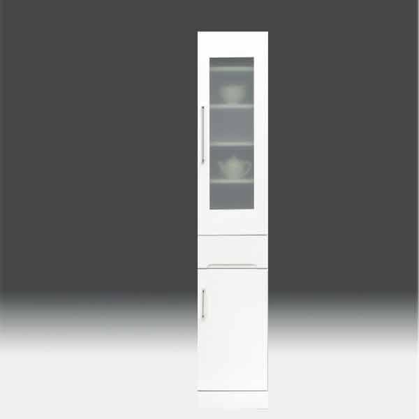 すきま収納 食器棚 すきま家具 白家具 鏡面 キッチン収納【日本製 一本立ち完成品】 キッチンボード 幅35cm 高さ180cm モイス付き GOKaic-cristal35slb 隙間[G2]