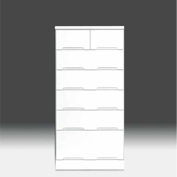 チェスト タンス ハイチェスト 幅60cm 白家具 6段 高さ129cm 白 ホワイト【日本製 一本立ち完成品】 鏡面仕上げaic-cristal80hc 地域限定大型宅配便送料無料【OK】整理タンス ドロアー[G2]【sm】