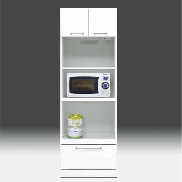 レンジ台 白家具 幅60cm 高さ180cm モイス付き【日本製 一本立ち完成品】 GOK 食器棚 レンジボード キッチンボード aic-cristal60tphl[G2]【sm】
