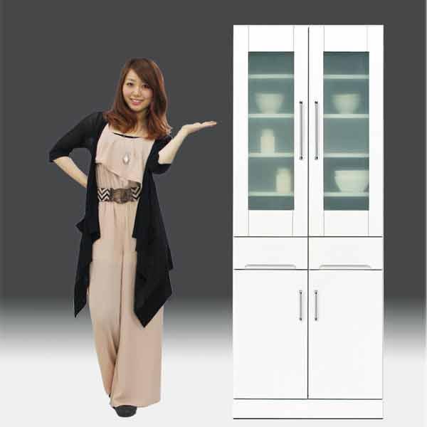 食器棚 白家具 鏡面 キッチン収納【日本製 一本立ち完成品】 キッチンボード 幅70cm 高さ180cm モイス付き GOKaic-crista80db[G2]【sm】
