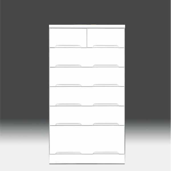 チェスト タンス ハイチェスト 幅70cm 白家具 6段 高さ129cm 白 ホワイト【日本製 一本立ち完成品】 鏡面仕上げaic-cristal80hc 地域限定大型宅配便送料無料【OK】整理タンス ドロアー[G2]【sm】