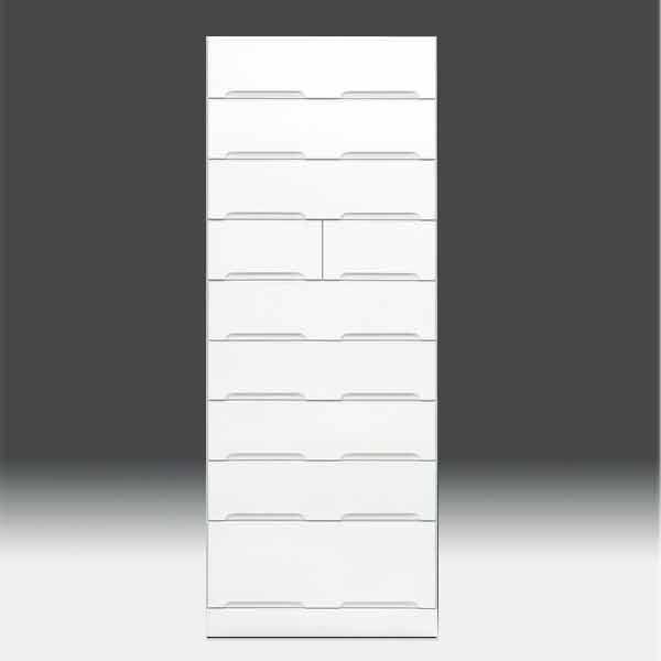 チェストタンス タワーチェスト【日本製 一本立ち完成品】 ハイチェスト 幅60cm 9段 高さ180cm ハイタイプ 白 ホワイト 鏡面仕上げ 衣類収納 収納 北欧  整理タンスaic-cristal60tc GOK[G2]【sm】