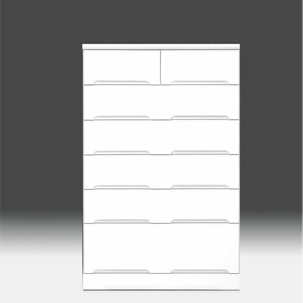 チェスト タンス ハイチェスト 幅80cm 白家具 6段 高さ129cm 白 ホワイト【日本製 一本立ち完成品】 鏡面仕上げaic-cristal80hc 地域限定大型宅配便送料無料【OK】整理タンス ドロアー[G2]