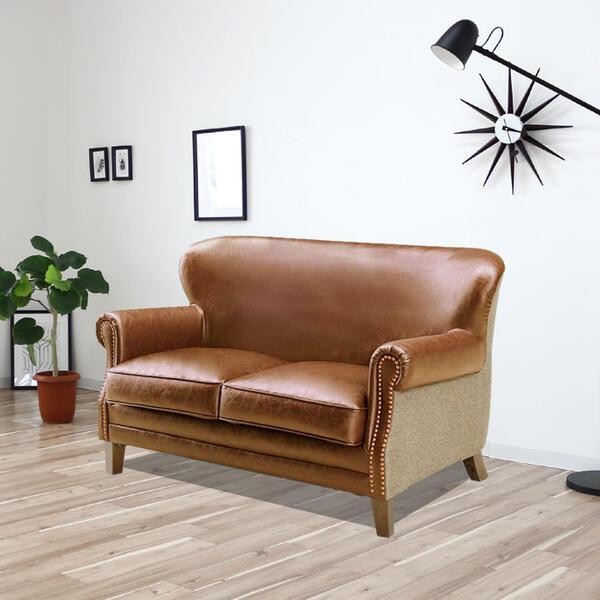 ビンテージ風 ソファー 2人掛け 合皮 キャメル、ダークブラウン レトロ 高級感 マットな質感  SSG 2P ソファ sofa 二人掛け【QOG-80】  t001-【P1】