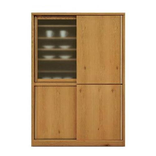 天然木 ホワイトオーク/ウォールナットの落ち着いた スライド 食器棚 キッチンボード 幅138cm  SOK【OK】和風 和モダン 日本製 食器棚 完成品【QOG-180】【P1】【2D】