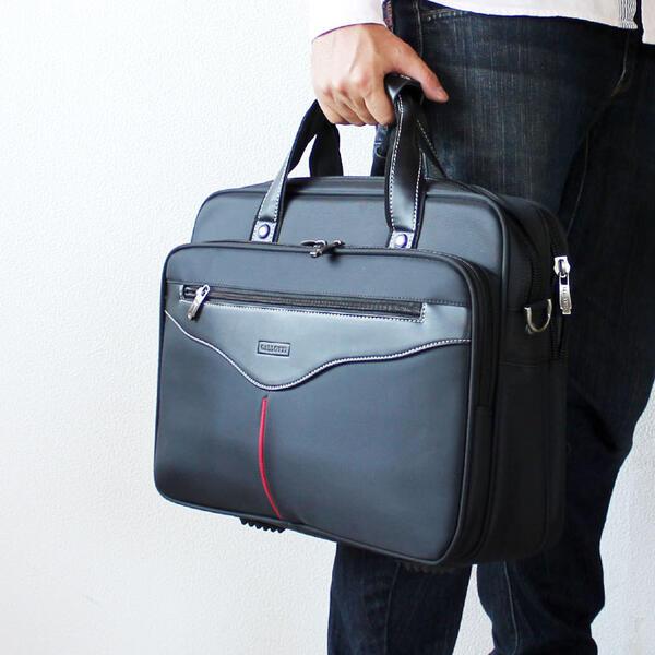 メンズビジネスバッグ 幅40cm 2WAY ナイロン PC対応 A4ファイル対応 キャリーバー通し 自立 ビジネスバック ブリーフケース 型がしっかりしたメンズビジネスバッグ 鞄 カバン かばん【あす楽対応】新卒 新社会人 就職活動 就活 面接 【アウトレット】【QST-100】【2D】