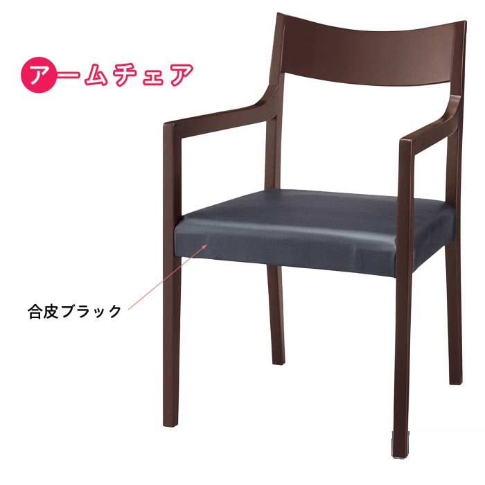 アームチェア 2脚セット 椅子 ブナ材 ダークブラウン 肘付き 食堂椅子 食卓椅子 [G2] t002-m044-ch104v 【sm-220】