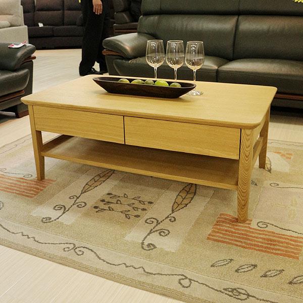 リビングテーブル 幅105cm 引き出し付き タモ材 ローテーブル ナチュラル 北欧 シンプルデザイン 送料無料 北欧 モダン家具 グッドデザイン かっこいい クール【PR1】 GMK-lt【ne】