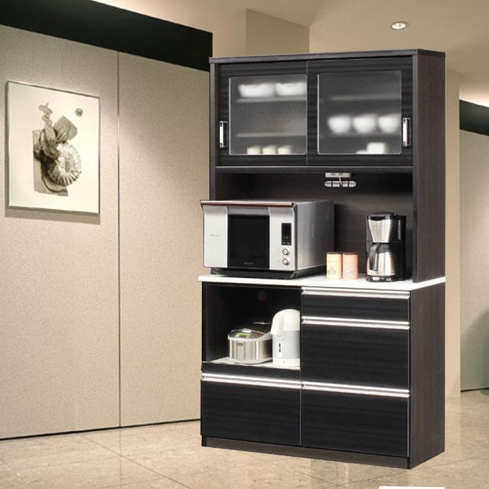 食器棚 完成品 光沢のある木目模様が美しいキッチンボード 幅120cm モイス仕様 ホワイト/ブラウン レンジボード SOKキズ、熱に強いメラミンポストフォーム天板 開梱設置送料無料 m015-kiz-120r-bk[G2]【QOG-180】