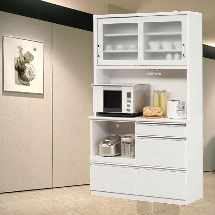 食器棚 完成品 光沢のある木目模様が美しいキッチンボード 幅120cm モイス仕様 ホワイト/ブラック レンジボード SOKキズ、熱に強いメラミンポストフォーム天板 開梱設置送料無料 m015-kiz-120r-wh